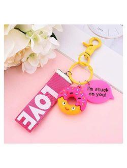 Keychain 1PS Resin Mini Cute Key Chain Kawaii Bag Chain Straps Donut Cake Keychain (Color : Fushia)