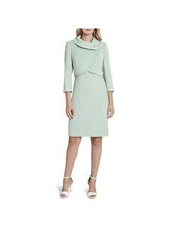 Women's Wrap Pearl Trim Crop Jacket And Dress Set
