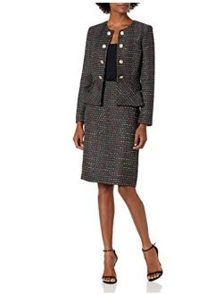 Women's Faux Double Breasted Peplum Jacket And Skirt Set