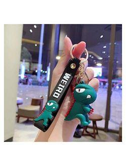 YSDSPTG Keychain Cute Little Green Dinosaur Key Chain Women Girl Kawaii Keychain Fashion Keyring Animal Dating Interior Accessories (Color : Gray)