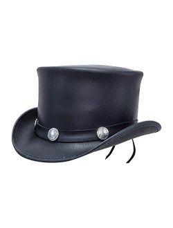 Voodoo Hatter-El Dorado Buffalo Nickel Band Band, Black or Brown Leather Top Hat