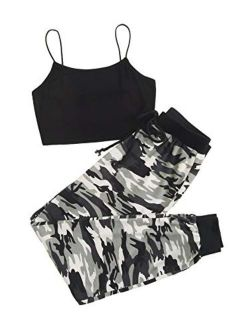 Women's Casual 2 Piece Sport Outfits Cami Top And Sweatpants Tracksuits Set