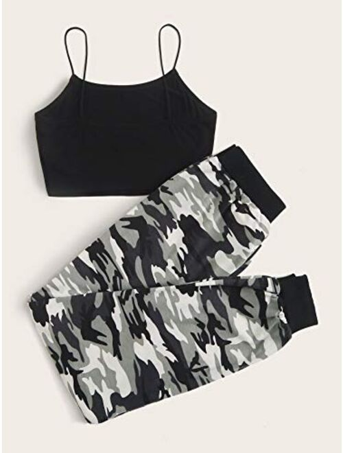 SweatyRocks Women's Casual 2 Piece Sport Outfits Cami Top and Sweatpants Tracksuits Set