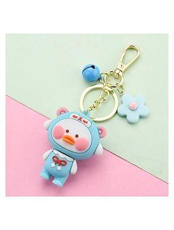 Tlwangl Keychain Cartoon Cute Duck Keychains Fashion Yellow Blusher Car Key Chain Women Bag Pendant Keyring Gifts Student Toys Kids Gift (Color : Blue)