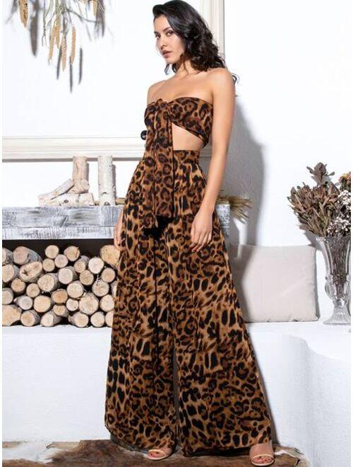 LOVE&LEMONADE Leopard Tie Front Tube Top & Wide Leg Pants Set