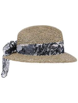 Seagrass Straw Hat With Cloth Band Women - Made In Italy