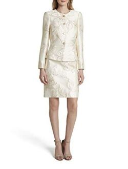 Women's Gold Floral Nested 4 Button Jacket And A-line Skirt