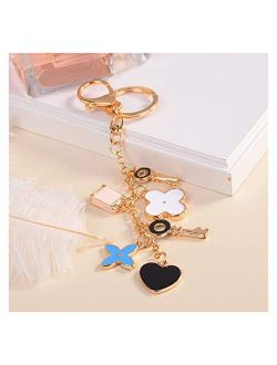 lliang Keychain Good Luck Clover Keychains Fashion Brands Key Chain Flower Keyrings Metal Key Ring Women Bag Charm Pendant Car Accessories (Color : Multicolor)