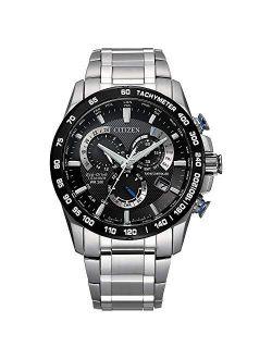 Men's Pcat Eco-drive Chronograph Watch In Super Titanium, Silver, Cb5908-57e