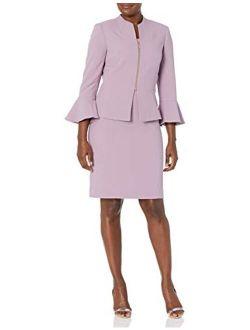 Women's Peplum Zipper Jacket And Dress Set