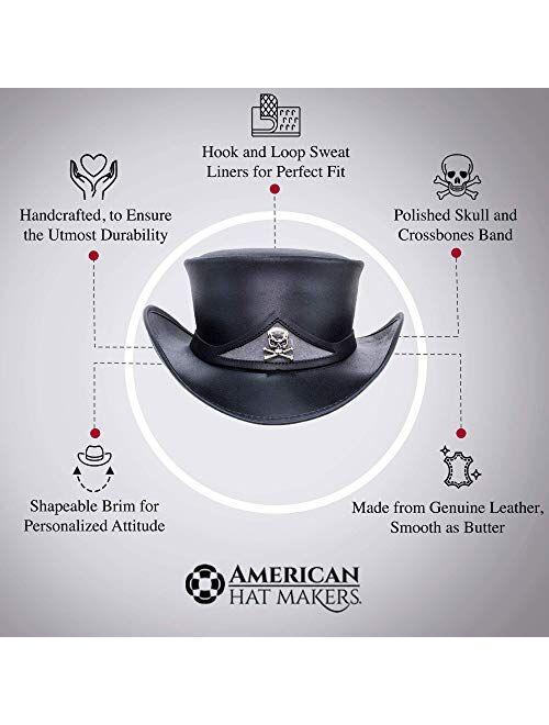 American Hat Makers Pale Rider Top Hat with Skull Band — Handcrafted, Genuine Top Grain Leather, Sun Protection