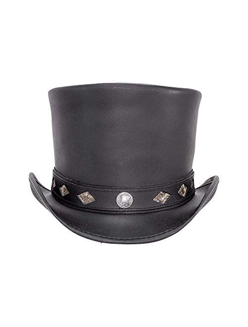 Voodoo Hatter Topper-Diamond Inlay Band by American Hat Makers Leather Top Hat