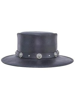 American Hat Makers Silverado Leather Pork Pie Handcrafted Hat with Concho Band