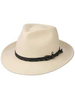 Barnell White Bogart Wool Felt Hat Women/men - Made In Italy