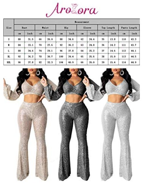 Aro Lora Women's Sexy V Neck Glitter Sequin Long Sleeve Crop Top Flare Pant Set 2 Piece Outfits Jumpsuits