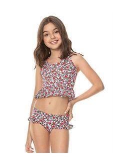 Girls Polyamide Pinted Ruffle Swimwear