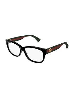 Gg 0278o 011 Black Plastic Rectangle Eyeglasses 55mm, 55-15-145