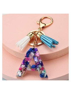 Tlwangl Keychain New Cute Colorful Resin Letter A-Z Key Chain Women Girl Gold Lobster Clasp White Blue Tassels Keychain Charm Bag Pendant Keyring (Color : Z, Size : About