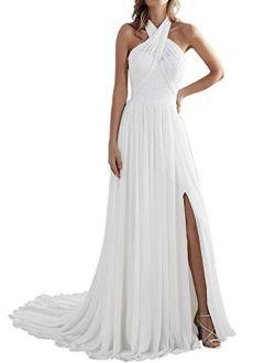 Uther Women's Beach Wedding Grecian Neck A-Line Long Chiffon Bridal Gown