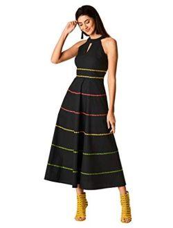 Fx Raglan Neck  Embellished Tier Stretch Poplin Dress