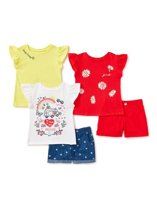 365 Kids From Garanimals Girls Festival Ruffle T-Shirts and Cuffed Shorts, 5-Piece Outfit Set, Sizes 4-10