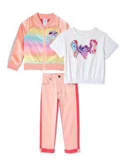 Girls My Little Pony Bomber Jacket, Elastic Hem T-shirt, And Colorblock Pants, 3-piece Outfit Set, Sizes 4-10