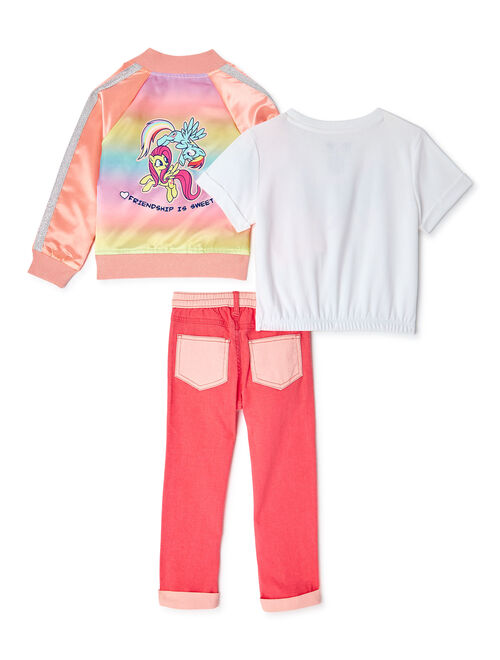 365 Kids From Garanimals Girls My Little Pony Bomber Jacket, Elastic Hem T-Shirt, and Colorblock Pants, 3-Piece Outfit Set, Sizes 4-10