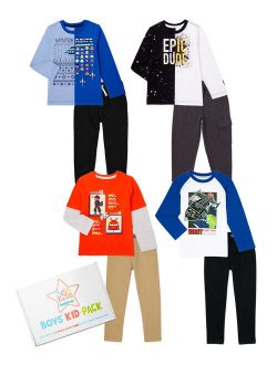 365 Kids From Garanimals Boys Legend Kid-Pack with Long Sleeve T-Shirts, Jeans, & Jogger Sweatpants, 8-Piece Outfit Set, Sizes 4-10
