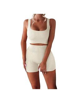 Workout Sets for Women 2 Piece Seamless Ribbed Crop Tank High Waist Shorts Yoga Outfits Womens Tracksuit