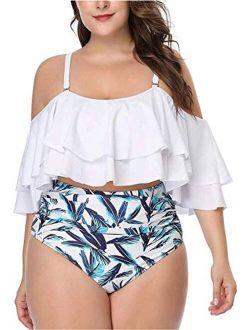 Daci Women Plus Size Bikini High Waisted Bathing Suits Off Shoulder Flounce Ruffle Swimsuits