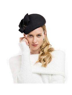 Women Wool Derby Hat For Women Pillbox Hat Wedding Hats Felt Bowknot Fascinators