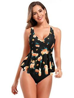 SHEKINI Women's Retro Floral Print Swimsuit V Neck Ruffle Tankini Set Bathing Suits