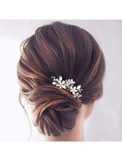 Jakawin Bride Wedding Pearl Hair Pins Bridal Hair Accessories Silver Hair Piece for Women and Girls HP065 (Silver)