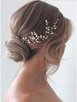 Jakawin Bride Crystal Wedding Hair Vine Silver Bridal Hair Piece Rhinestone Hair Accessories for Women and Girls HV113 (Silver)