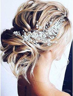 Unicra Bride Flower Wedding Hair Vine Crystal Bridal Hair Piece Rhinestone Party Hair Accessories Leaf Hair Jewelry Bead Headpiece for Women and Girls (Silver)