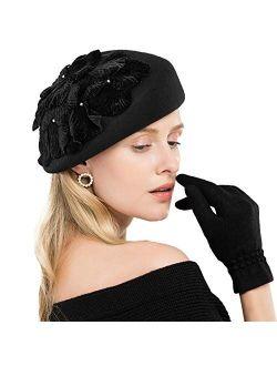 FADVES Flower Pearl Pillbox Hats Wool Fascinator Vintage Wedding Tea Party Derby Hat