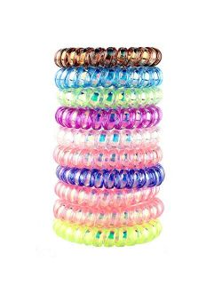 10 Piece Spiral Hair Ties For Thick Hair , Coil elastics Hair Ties, Multicolor Medium Spiral Hair Ties,No Crease Hair Coils, Telephone Cord Plastic Hair Ties For Women An