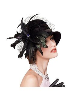 Womens Wool Felt Feather Church Bowler Hats Cocktail British Formal Party Hat