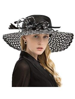 Women Dress Sinamay Derby Church Garden Party Wedding Dressy Wide Brim Hat