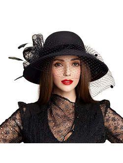 Large Brim Wool Fedora Wedding Veil Hat Winter Cloche Floppy Church Caps