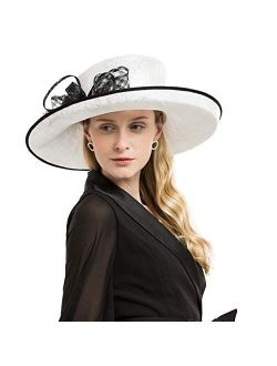 Sinamay British Hat For Women Kentucky Derby Church Events Wide Brim Fedora Sloped Crown