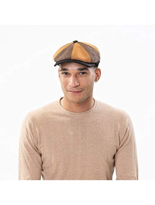 Lierys 8 Panel Tricolour Flat Cap Men - Made in Italy