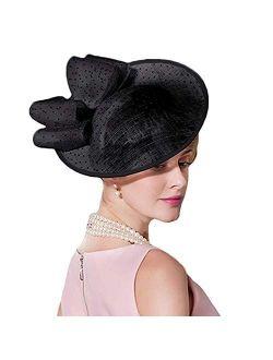 Women's Vintage Sinamay Fascinator Elegant Royal Wedding Derby Cocktail Tea Party Hat