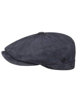Nappa Wax Leather Flat Cap Men - Made In Italy