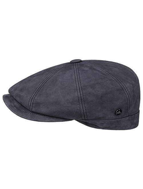 Lierys Nappa Wax Leather Flat Cap Men - Made in Italy