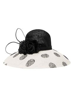 Fascinator Hat For Women Tea Party Wedding Bridal Kentucky Derby Polka Dot Hat