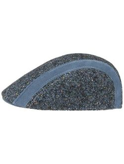 Ciro Tweed Flat Cap With Leather Men - Made In Italy