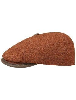 Harris Tweed Flat Cap With Leather Men - Made In Italy