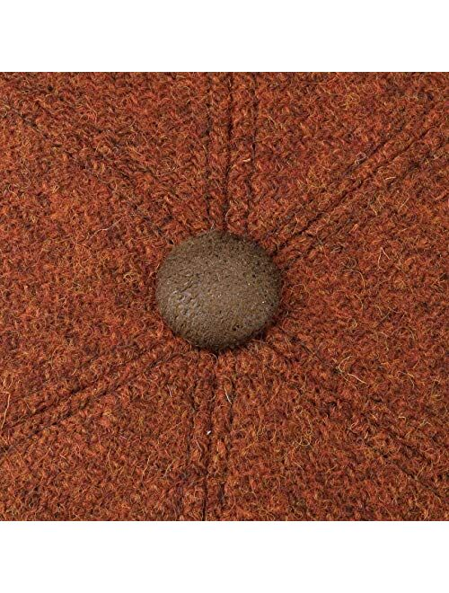 Lierys Harris Tweed Flat Cap with Leather Men - Made in Italy