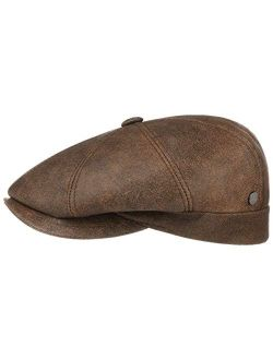 City Nappa Leather Flat Cap Women/men - Made In Italy